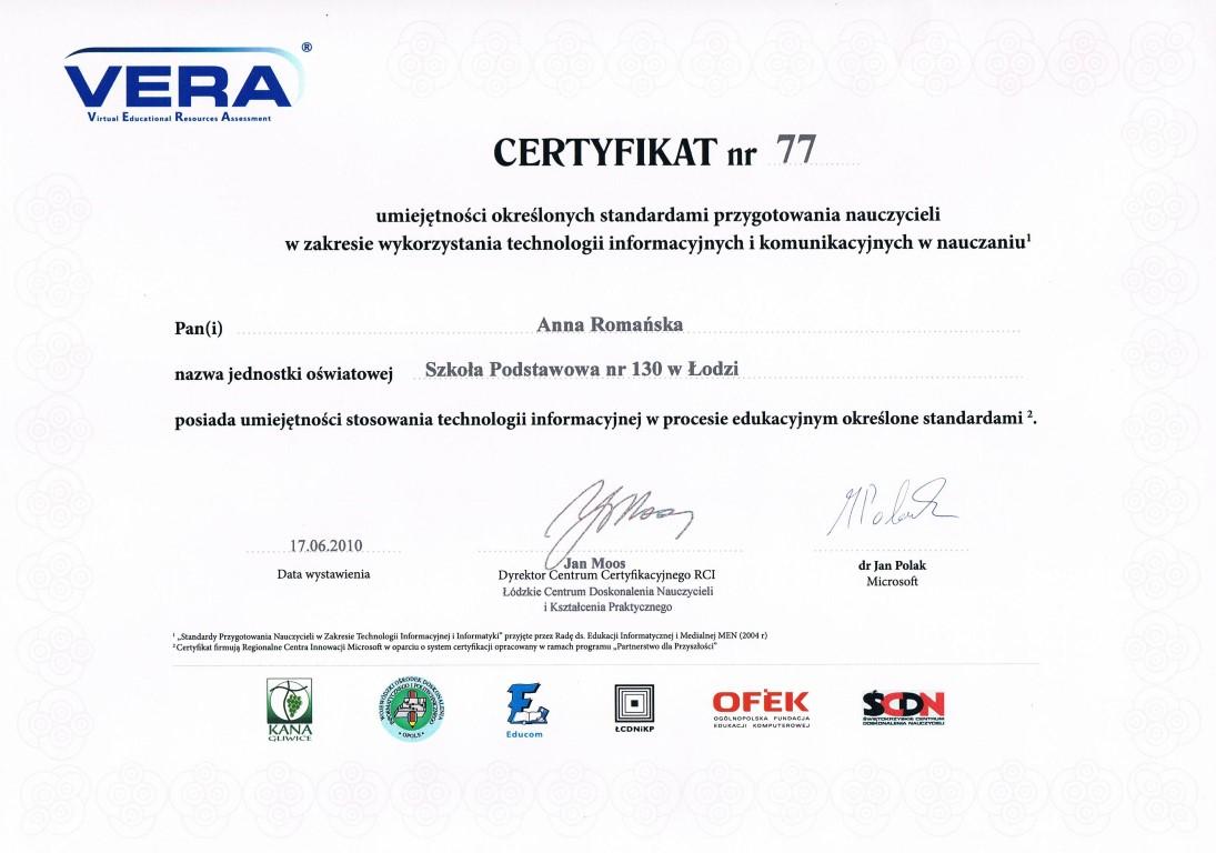 certyfikat - ania