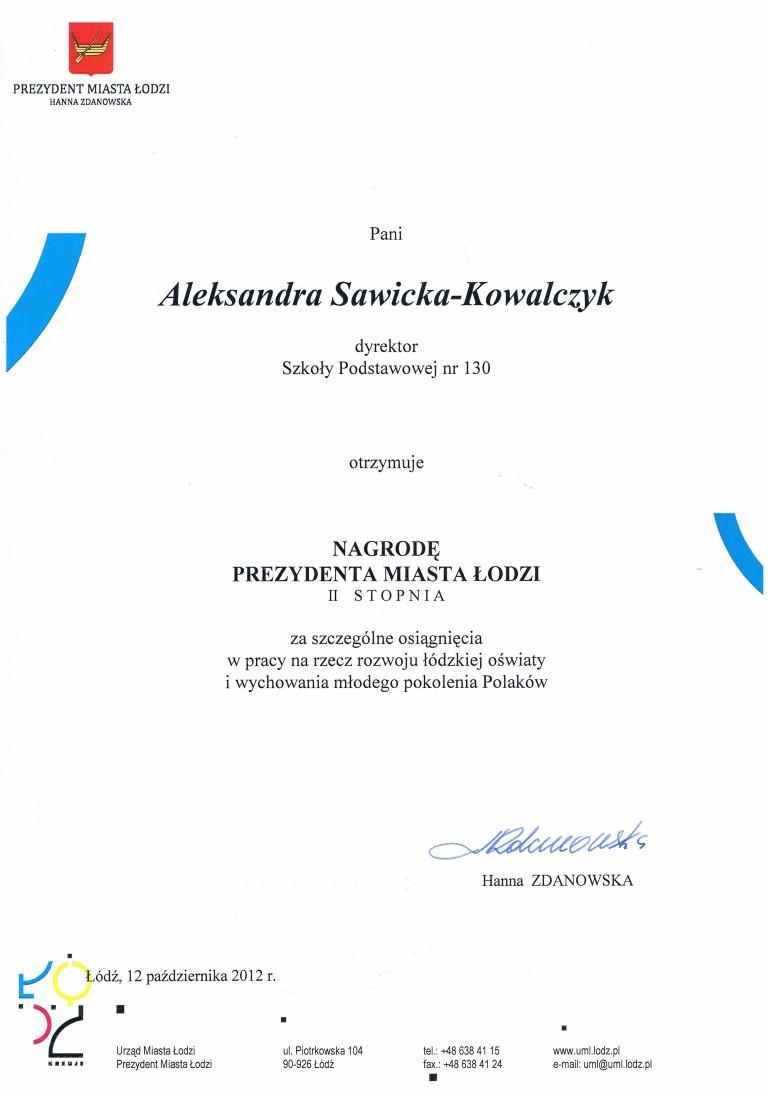 nagroda - dyrekcja